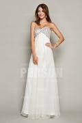 Beaded Sweetheart Chiffon Long White Formal Dress