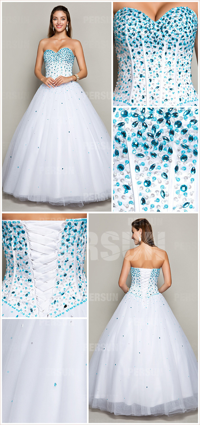 White Rhinestone Beaded Bodice Princess Formal Dress