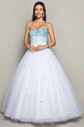 Dressesmall Rhinestone Beaded Bodice Princess Formal Dress