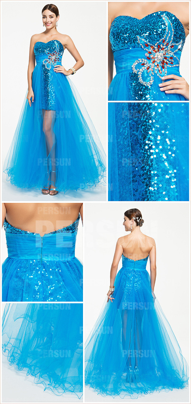Sheath Blue tone Sequins High Low Formal Dress with Tulle skirt
