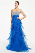 Gorgeous Beading Ruffle Open Back Blue Formal Dress