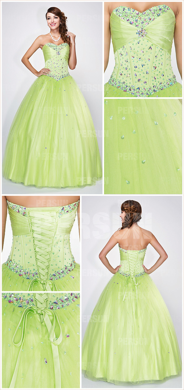 Long formal corset ball gown in green tone with beaded bodice detail design