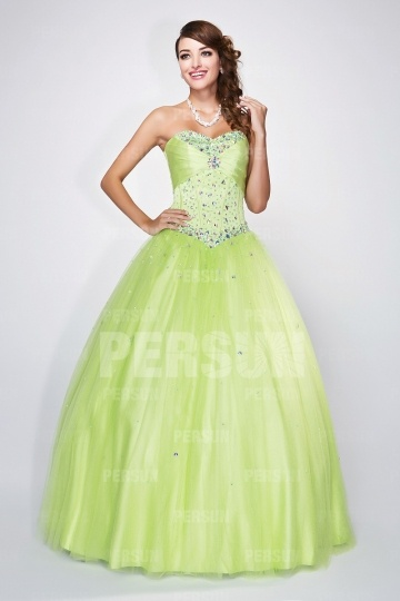 Dressesmall Formal Corset Ball Gown in green tone with beaded bodice
