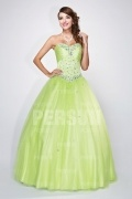 Formal Corset Ball Gown in green tone with beaded bodice