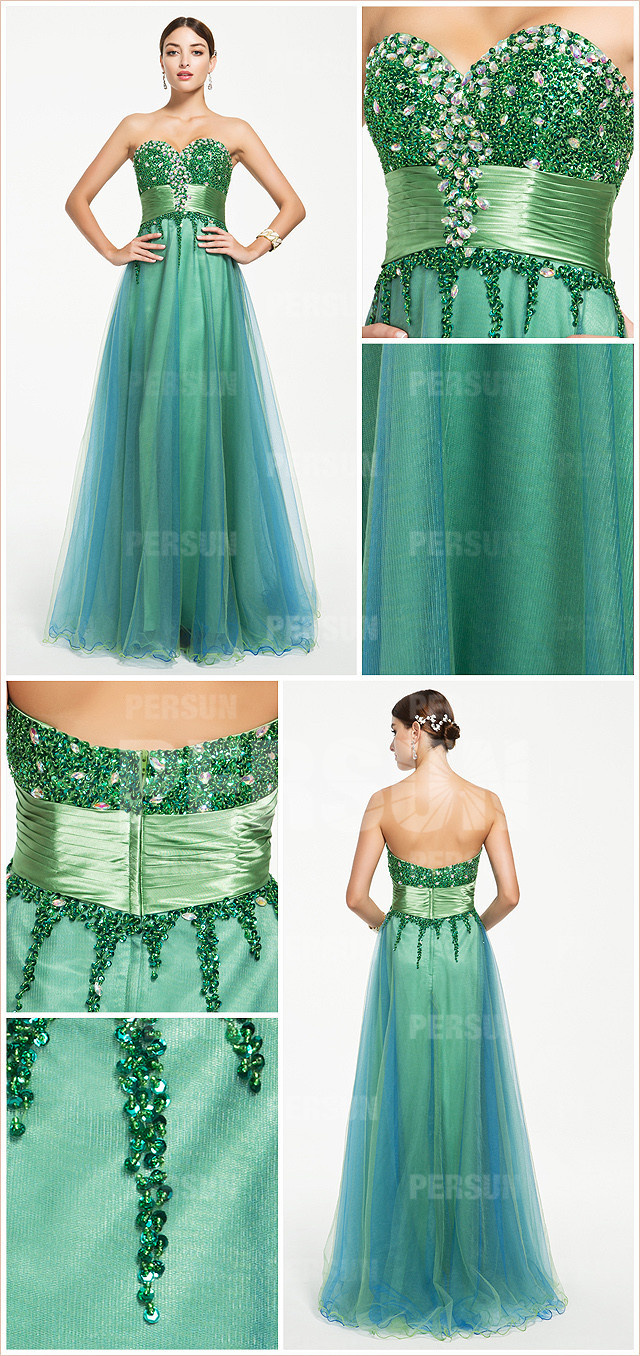 Green Glittering Beaded bodice Tulle Formal Dress with Ribbon