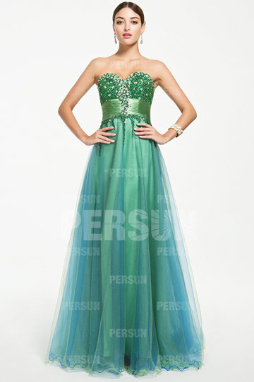 Dressesmall Glittering Beaded bodice Tulle Formal Dress with Ribbon
