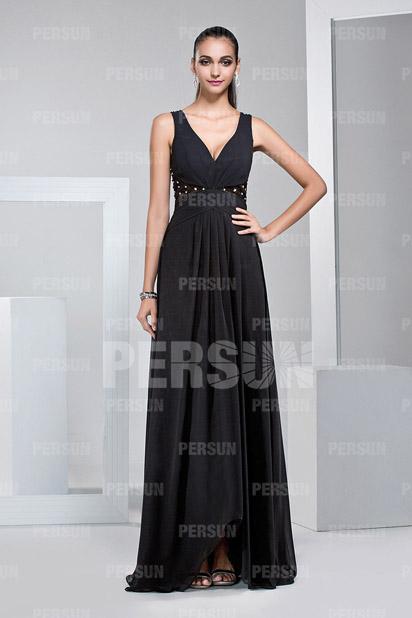 Schlichtes V-Ausschnitt A-Linie schwarzes Bodenlanges Abendkleider Persun