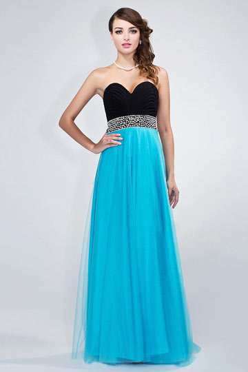 Dressesmall Chic Backless Blue Tone Tulle Formal Dress