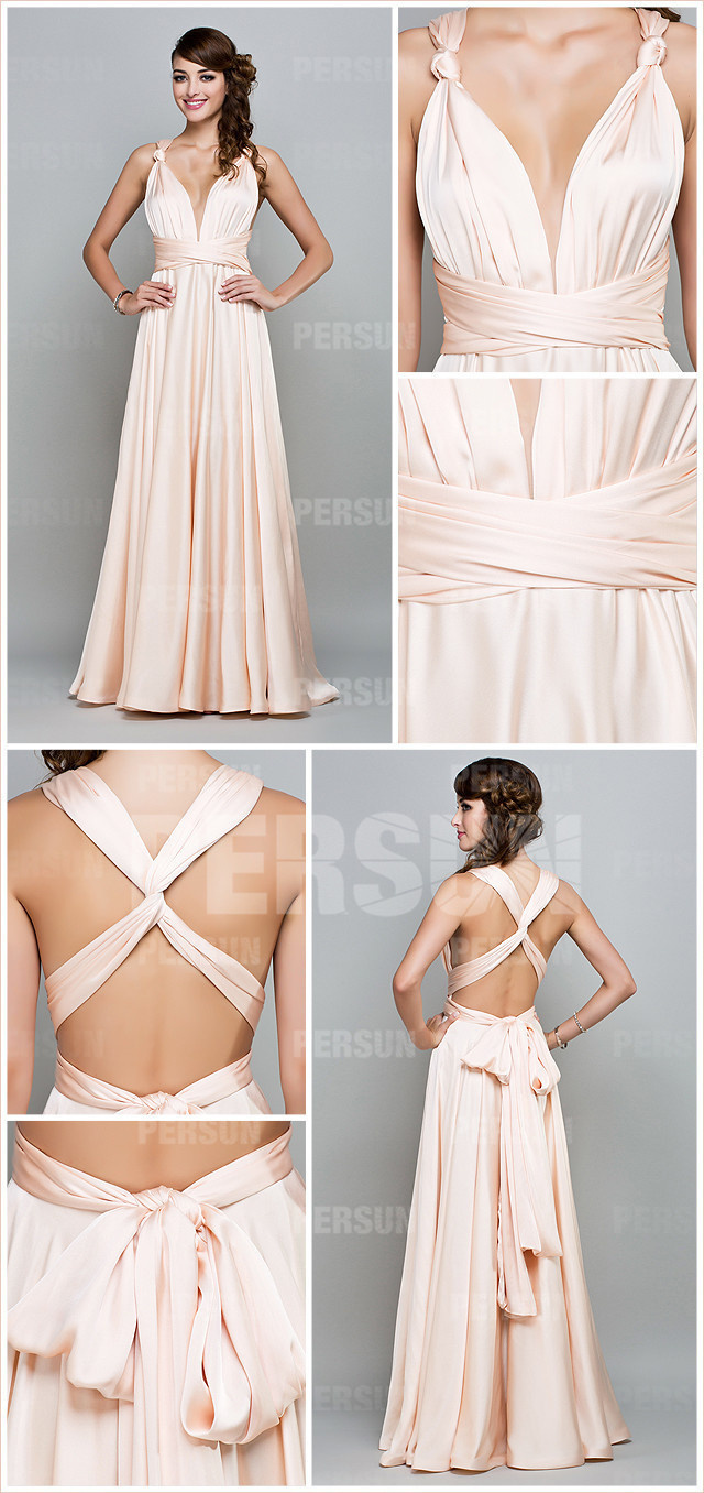 Sexy Backless Low V Sexy Satin Evening Dress with Straps