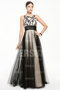Bicolor Full length Prom Dress with Flower Embroidery