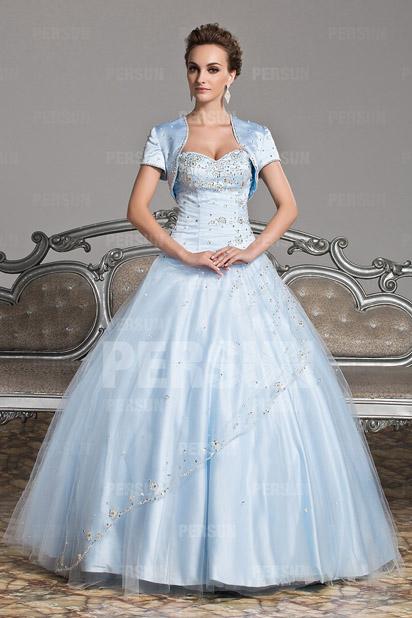 Elegantes Ball gown Herz-Ausschnitt Bodenlanges blaues Ballkleid Persun