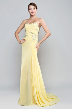 Elegant Side Slit Yellow Chiffon Full Length Evening Dress