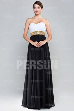 Color blocked Formal Dress with Sequin Waistline