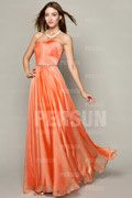 Elegant Formal Dress in Orange tone with Beaded Waist Line