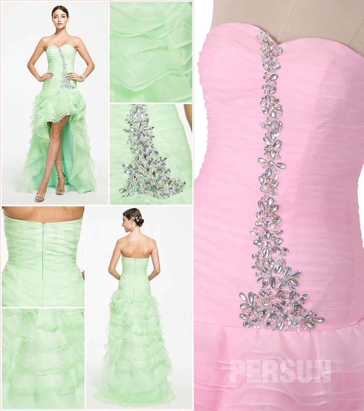 Trendy High low Formal Cocktail Dress in Green tone with Beading Details front and back design details from Dressesmallau