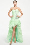 Trendy High low Formal Cocktail Dress in Green tone with Beading Details