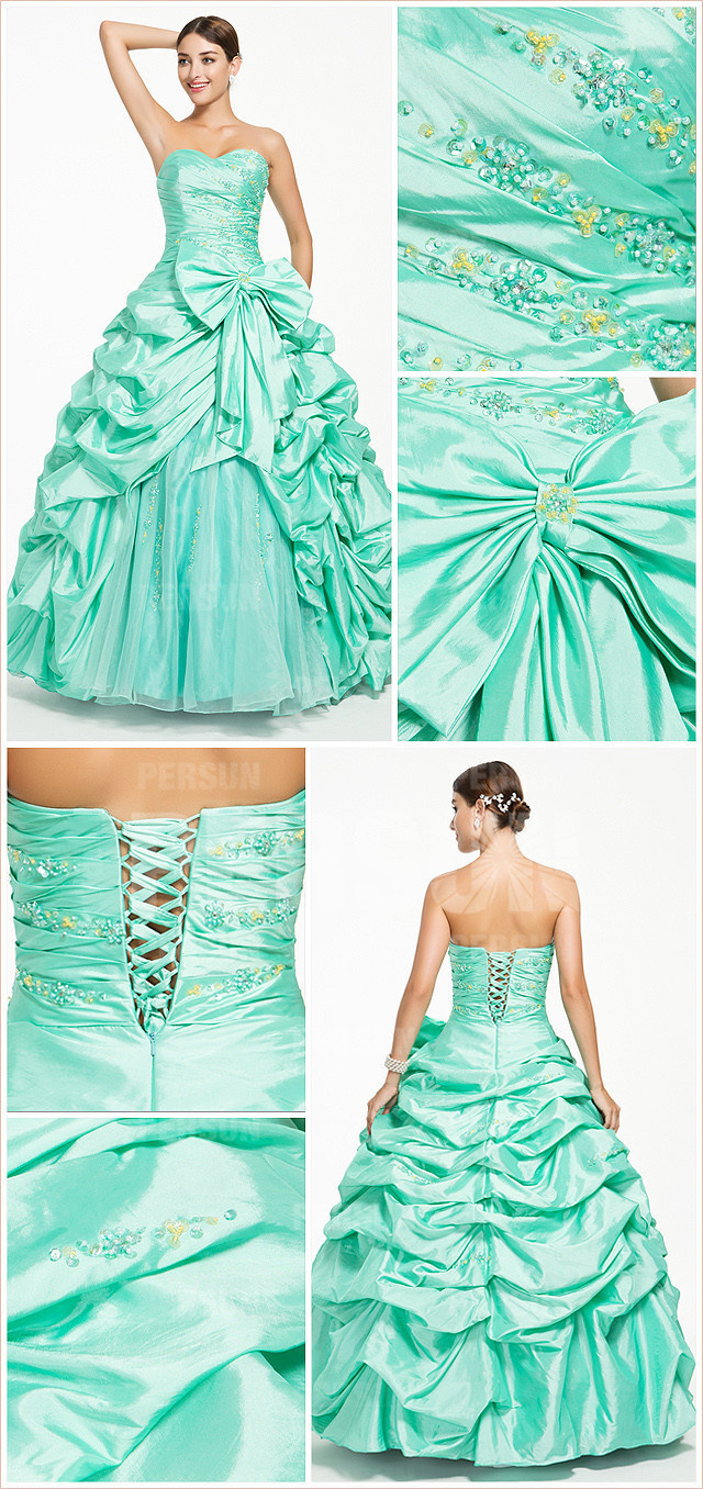 Emerald green taffeta princess formal dress with pick up skirt and bow