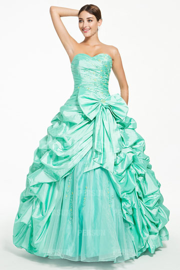 Dressesmall Emerald princess formal dress with Pick up skirt and bow