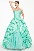 2014 Sweetheart Green Tone Prom dress with pick up skirt and sequins