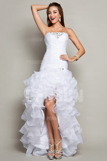 Dressesmall Chic White Sweet 16 Formal Cocktail dress with Ruffle Skirt