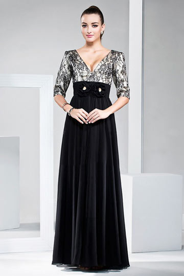 Dressesmall Lace top Black Empire Long Formal Evening Dress