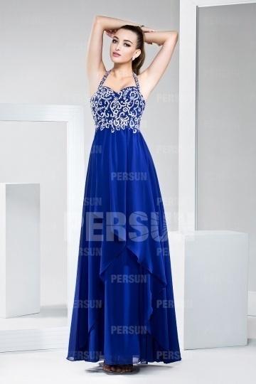 Dressesmall Modern Halter Blue Tone Floor Length Formal Evening Dress