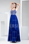Modern Halter Blue Tone Floor Length Formal Evening Dress