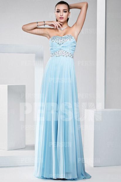 Trägerloses Empire Bodenlanges blaues A-Linie Abendkleider Persun