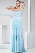 Sweep train Light blue Beading Sequins A line formal dress