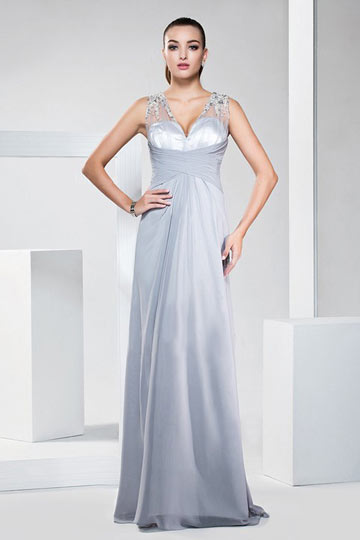 Dressesmall Beaded V neck Chiffon Gray Formal Dress with sheer back