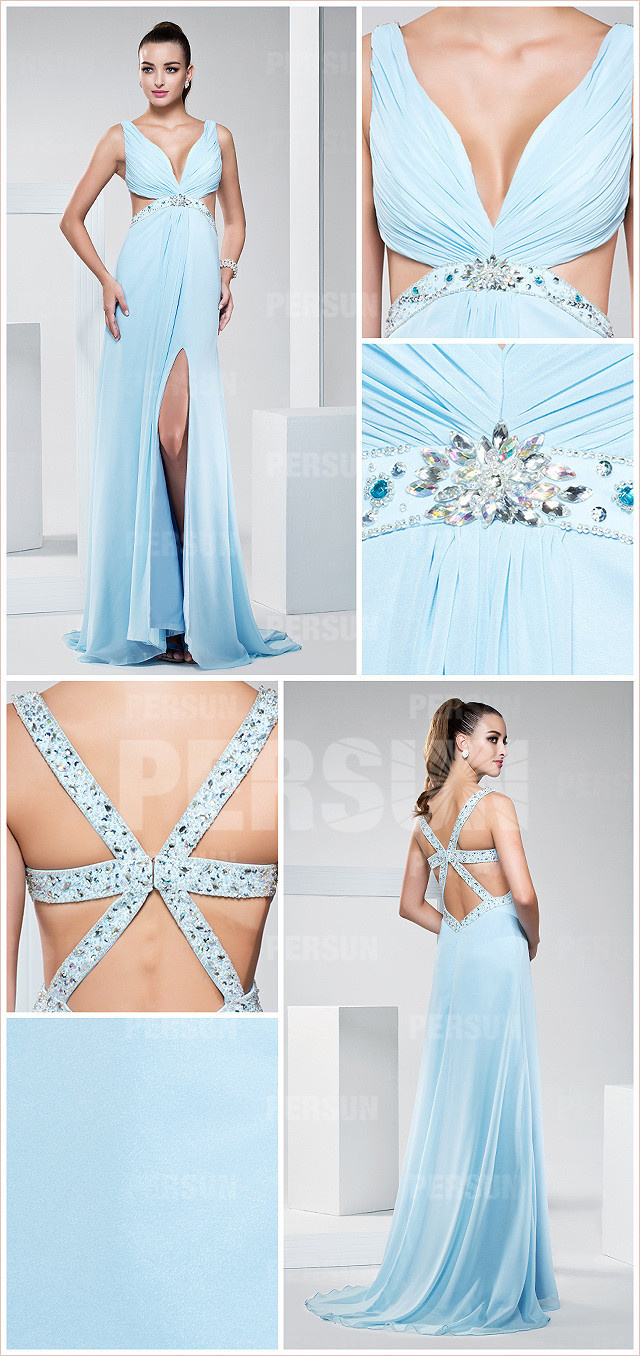 Sexy Beaded V neck long light blue formal dress with backless design