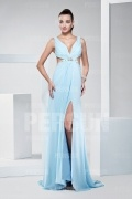 Sexy Beaded V neck Light blue formal dress with backless design