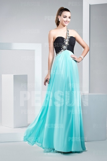 Dressesmall Chic A line One Shoulder Beading Chiffon Formal Evening Dress
