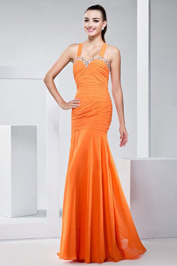 orange outdoor party prom dress with straps ppda0093. Black Bedroom Furniture Sets. Home Design Ideas