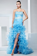 High low Chic Sheath Formal Gown with Beading Ruffles