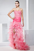 Pageant Pink Dress with rulle skirt and beading details