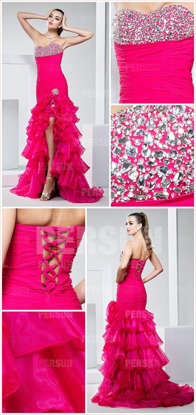 robe courte devant longue derrière bustier cœur orné de strass dos ouvert