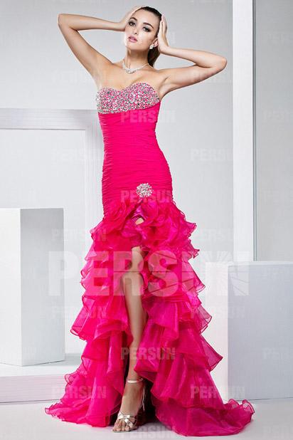 Robe de cocktail rose fuchsia