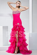 Fuchsia tone Split front Pageant Beaded Formal Dress with Ruched Waist