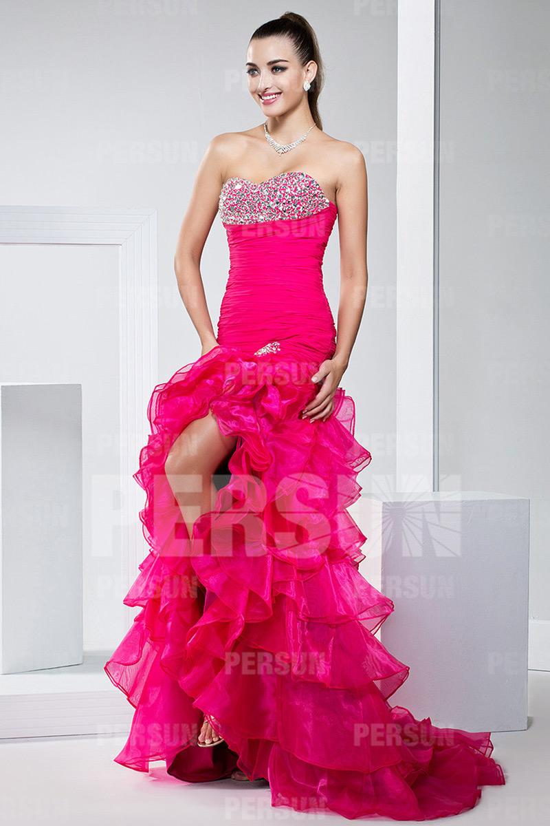 Robe de bal de promo rose bonbon avec jupe fendue volant e - Tenue bal de promo ...