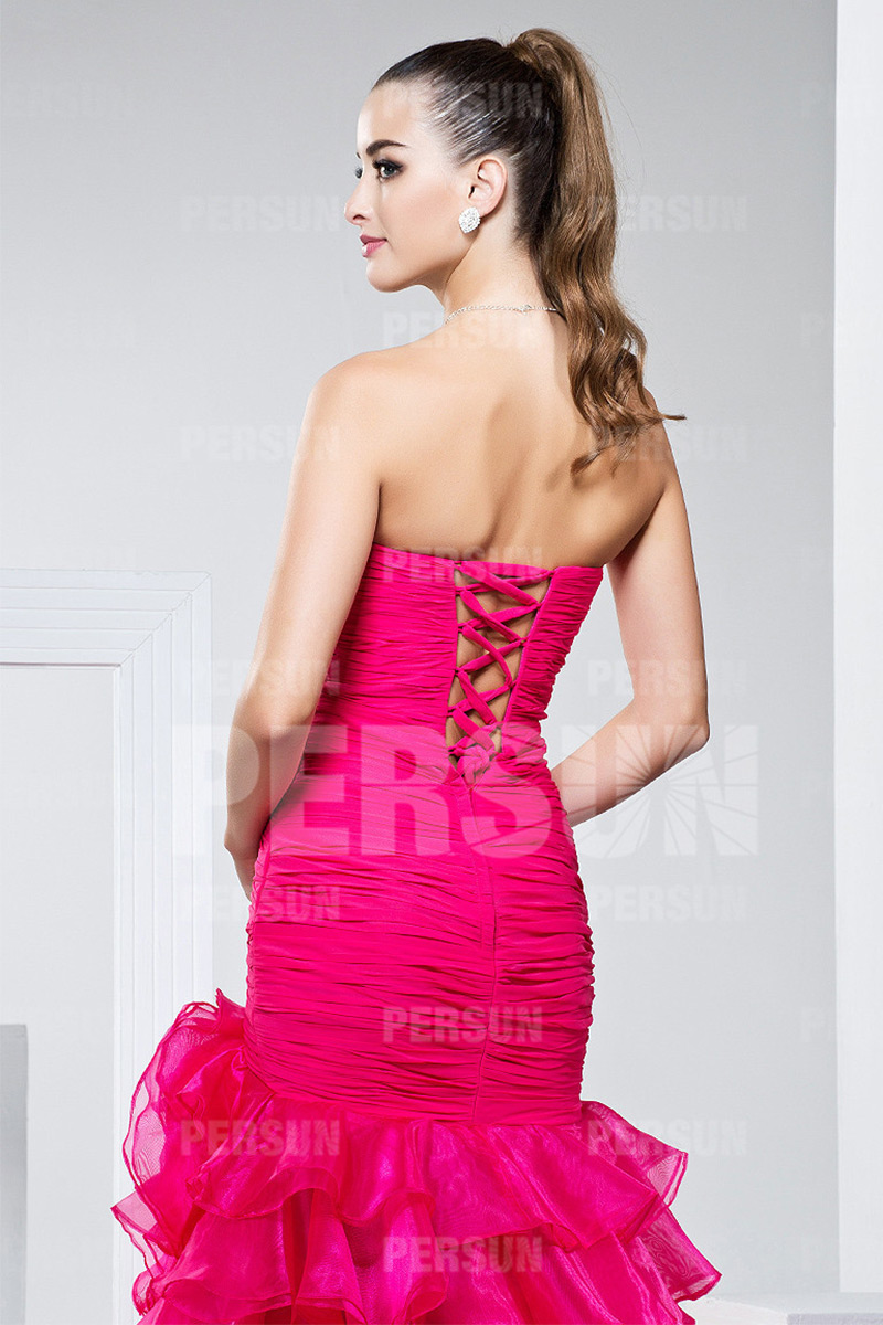 Exceptionnel Robe de bal de promo rose bonbon avec jupe fendue & volantée  MK52