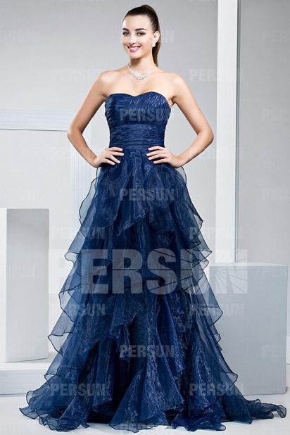 A-Linie Herz-Ausschnitt langes Pinsel-Schleppe Abendkleider aus Organza Persun