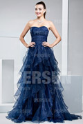 Pretty Organza Strapless Ruffles Blue Formal Dress
