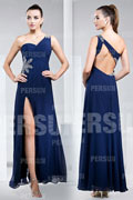 Sexy Side Slit Blue Tone Ruching Formal Evening Dress