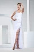 Sexy Ein Schulter A-Linie Bodenlanges weißes Abendkleid aus Chiffon