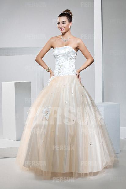 Elegantes Trägerloses Prinzessin Stil Bodenlanges Ballkleid Persun