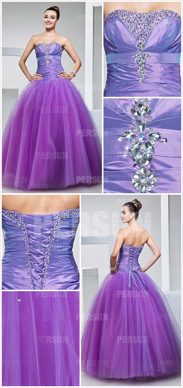 Long strapless tulel purple tone formal gown with taffeta top detail design