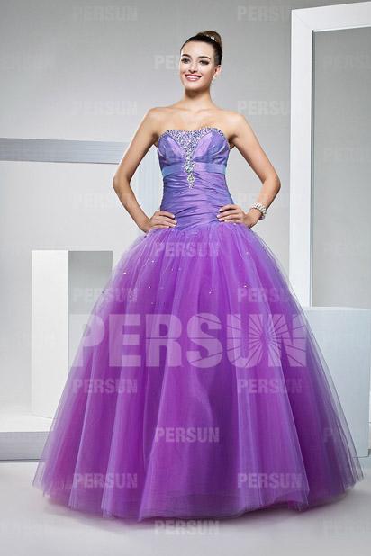 Elegantes Ball gown Trägerloses Tüll Lila Ballkleider Persun