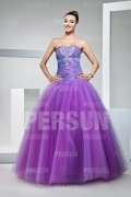 Elegantes Ball gown Trägerloses Tüll Lila Ballkleider