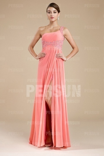 Dressesmall Chic One Shoulder Beading Side Slit Pink Floor Length Formal Dress